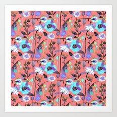 Coral spring flowers Art Print
