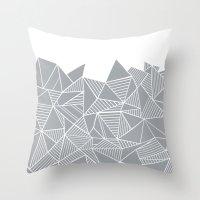 Abstract Mountain Grey O… Throw Pillow