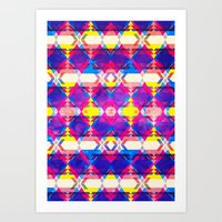 Blue Abstract Diamonate Art Print