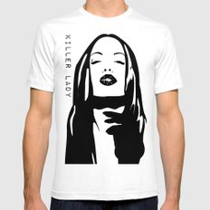 KILLER LADY LOGO TWO  SMALL Mens Fitted Tee White