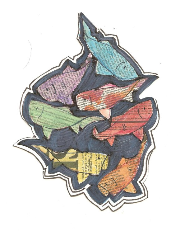 Newspaper Fish Art Print