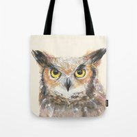 Owl Grey Horned Watercolor Tote Bag