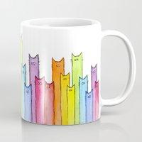 Cat Rainbow Watercolor Pattern Mug