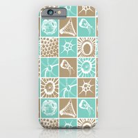 Microscopic Life Sillouetts Blue and Taupe iPhone 6 Slim Case