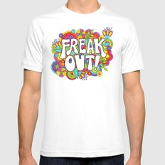 Freak Out! SMALL Mens Fitted Tee White