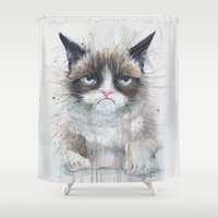 Grumpy Kitty Cat  Shower Curtain
