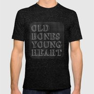 Old Bones Young Heart Mens Fitted Tee Tri-Black SMALL
