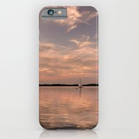 iPhone Cases featuring Evening at a lake by UtArt