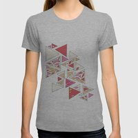 Geometric mosaic triangle pattern - red and pink Womens Fitted Tee Athletic Grey SMALL