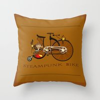 Steampunk Bike Throw Pillow