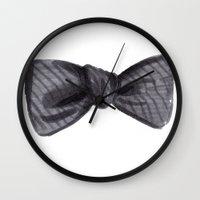 Striped Bow Wall Clock