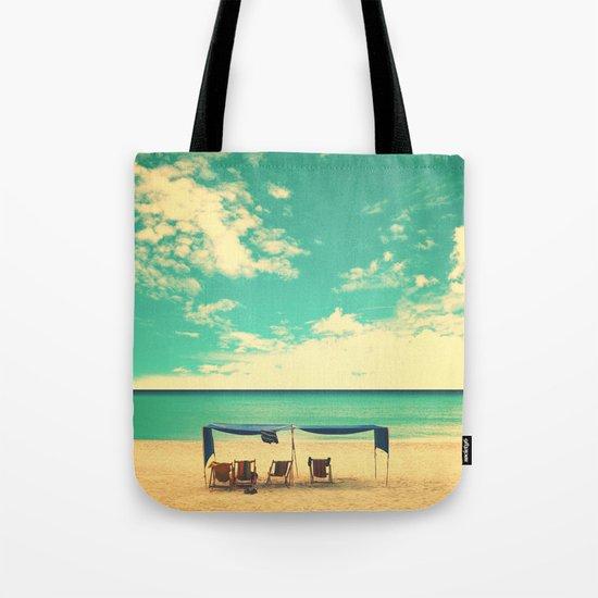 Paradise Beach and Retro Blue Sky  Tote Bag