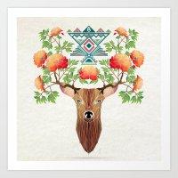 Deer Flowers Art Print