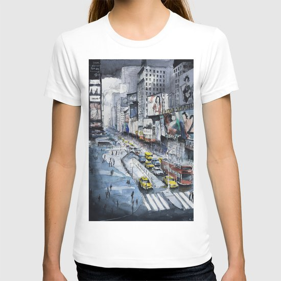 Time square - New York City - Illustration watercolor painting T-shirt