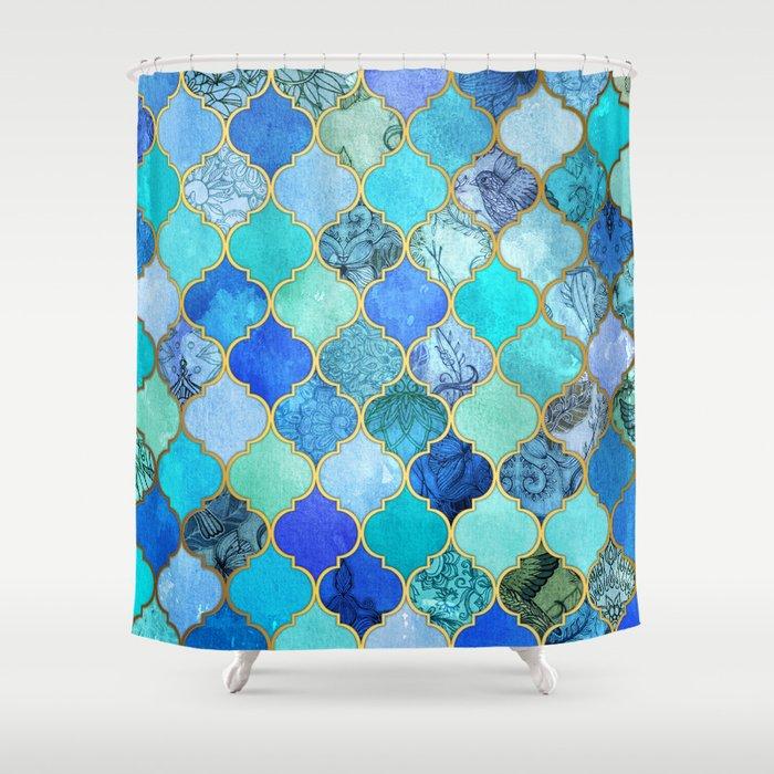Cobalt blue aqua gold decorative moroccan tile pattern for Blue patterned bathroom tiles