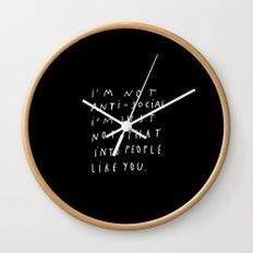 I AM NOT ANTI-SOCIAL Wall Clock