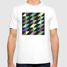 Tilted rectangles pattern Mens Fitted Tee SMALL White
