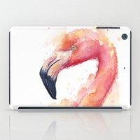Flamingo Watercolor Pink Bird iPad Case