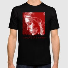 thoughtful woman SMALL Black Mens Fitted Tee