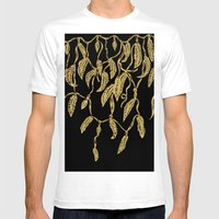 Modern Gold Feathers Rib… Mens Fitted Tee White SMALL