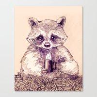 Caffeinated Raccoon Canvas Print