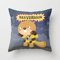 The Incredible Beaverman Throw Pillow