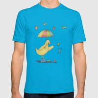 It's raining cats and dogs Mens Fitted Tee Teal SMALL