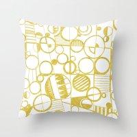Golden Doodle Circles Throw Pillow