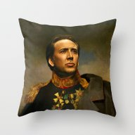 Throw Pillow featuring Nicolas Cage - Replacefa… by Replaceface