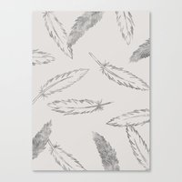 Painted Feathers - in Taupe Canvas Print