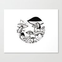 Mushroom Art Hand Drawn … Canvas Print