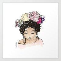 Flower Crown Clara Art Print