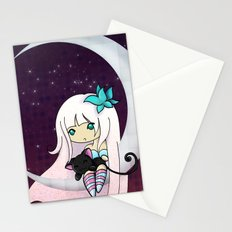 Silver Butterfly moon Stationery Cards