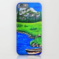 iPhone & iPod Case featuring River bank with little old boat by maggs326