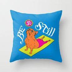 Frenchie Yoga Throw Pillow