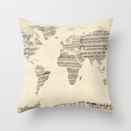 Throw Pillow featuring Old Sheet Music World Ma… by ArtPause