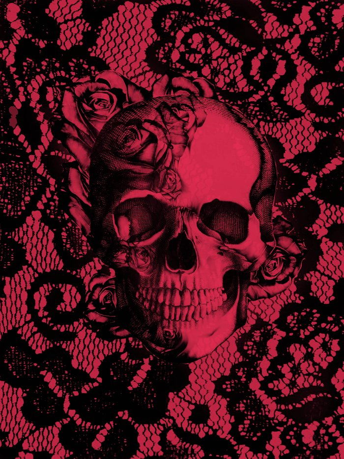 Gothic Lace Skull In Red And Black Art Print By Kristy