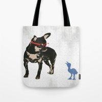 Black tan Chihuahua Dog with chick Tote Bag