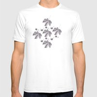 Floral pattern horse-chestnut Mens Fitted Tee White SMALL