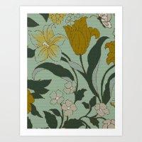 Vintage Floral Knit Art Print
