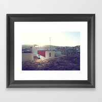 Tanger roof top with PixelBoy Framed Art Print