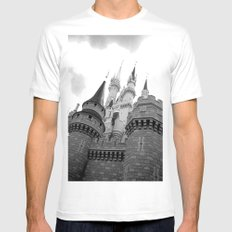 Disney Castle Mens Fitted Tee White SMALL
