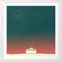 sky Art Prints featuring Quiet Night - starry sky by Picomodi