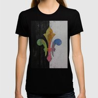 Fleur De Lis Womens Fitted Tee Black SMALL