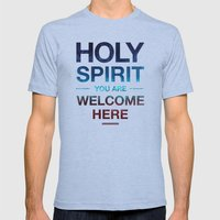 Holy Spirit: Blue Cyan Red Mens Fitted Tee Athletic Blue SMALL