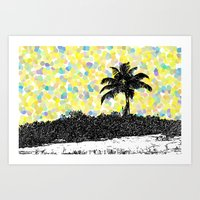 Palm Tree - Yellow Points Art Print