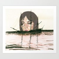 Sinking Ghost Ships Art Print