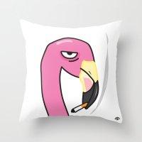 Smoking Flamingo  Throw Pillow