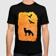 Roaming Fox 2 Mens Fitted Tee SMALL Black