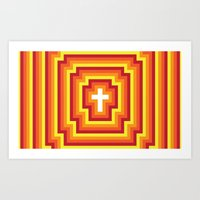 Technicolour Cross - Orange Art Print